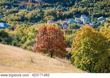 Autumn Rural Landscape - A Small Village In A Valley Overgrown With Trees, View From The Top Of The
