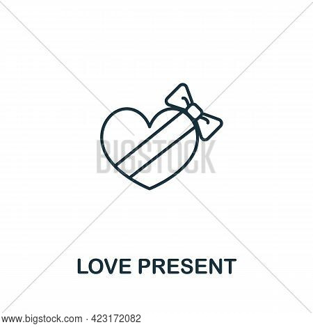 Love Present Icon From Valentines Day Collection. Simple Line Element Love Present Symbol For Templa