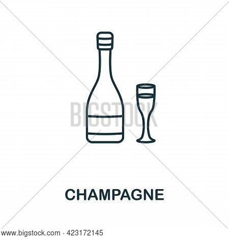 Champagne Icon From Valentines Day Collection. Simple Line Element Champagne Symbol For Templates, W