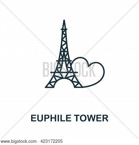 Euphile Tower Icon From Valentines Day Collection. Simple Line Element Euphile Tower Symbol For Temp