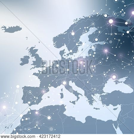 Geometric Graphic Background Communication With Europe Map. Big Data Complex With Compounds. Perspec