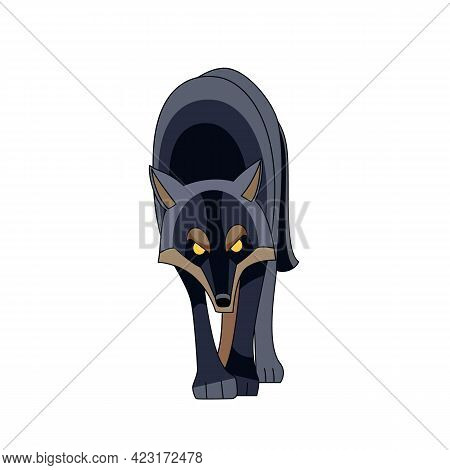 Black Wolf Looks And Walks Straight For Potential Prey. Cartoon Character Of A Dangerous Mammal Anim