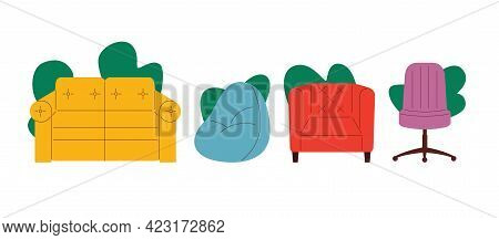 Colored Vector Illustration In Flat Style. Furniture Set Isolated On White Background. Seating Furni