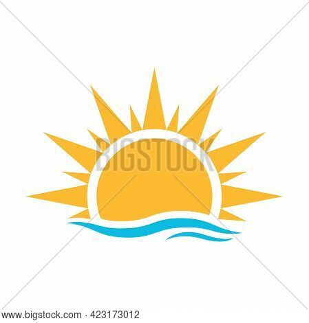 A Half Sun Is Setting Downwards With Water Wave Icon Vector Sunset Concept For Graphic Design, Logo,