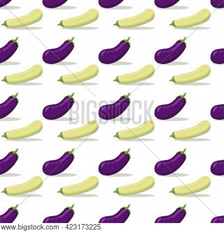 Seamless Pattern With Eggplant, Squash, Zucchini. Background With Seasonal Vegetables.