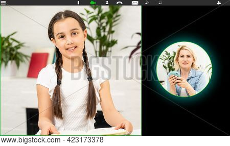 Kids Video Conferencing With Tutor On Laptop At Home. Distance Education Concept.