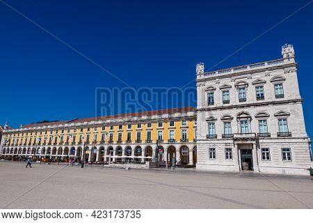 Lisbon, Portugal - June 12, 2019: Commerce Square (portuguese: Praca Do Comercio), Large, Harbour-fa