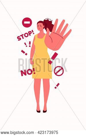A Confident Woman Says No Firmly. Hand Gesture Stop. The Concept Of Personal Boundaries And The Righ