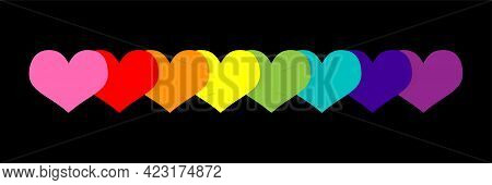 Happy Pride Month Banner With Rainbow Colored Hearts - Lgbt Pride Banner Against Homosexual Discrimi