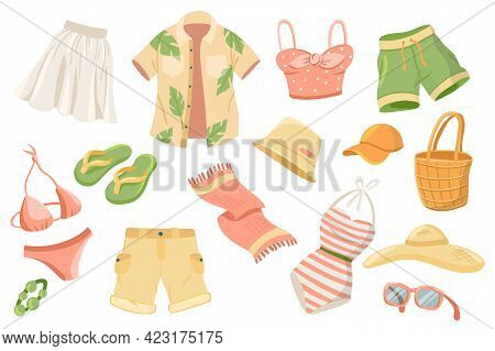 Summer Clothing Cute Stickers Isolated Set. Collection Of Skirt, Shirt, Short, Swimsuit, Towel, Slip