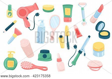 Beauty Routine Accessory Cute Stickers Isolated Set. Collection Of Hairdryer, Cream, Lipstick, Rolle