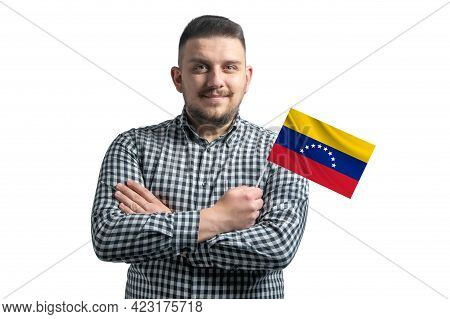 White Guy Holding A Flag Of Venezuela Smiling Confident With Crossed Arms Isolated On A White Backgr