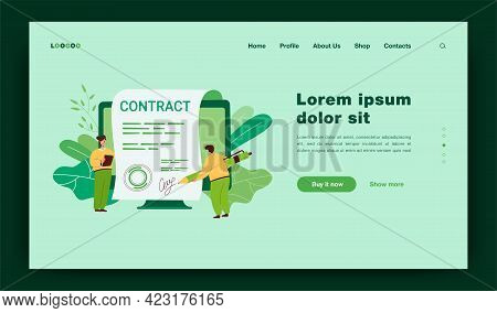 Tiny People Signing Giant Contract With Electronic Signature. Flat Vector Illustration. Online Agree