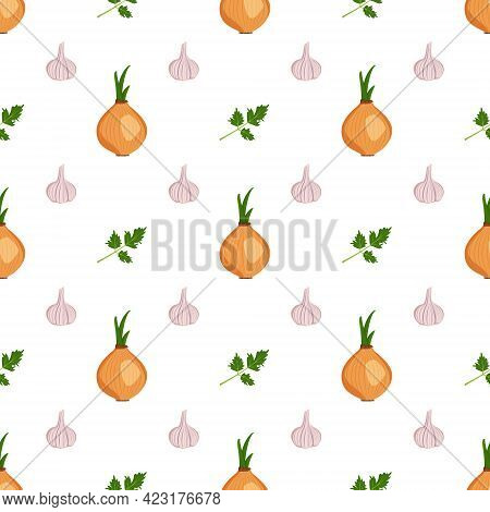 Cute Seamless Pattern With Garlic, Onion And Parsley Herbs. Vegetable Harvest Print. Summer Or Autum