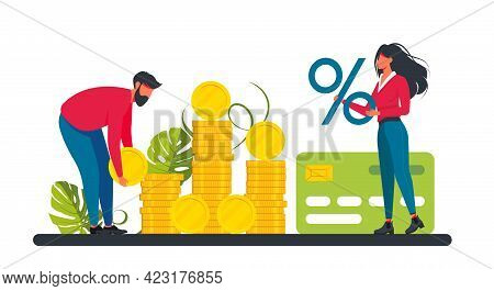 Loan With Huge Interest Rate. Tiny Woman And Man Holding A Percent Sign And Coin, Credit Card. Relat