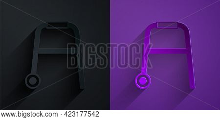 Paper Cut Walker For Disabled Person Icon Isolated On Black On Purple Background. Paper Art Style. V