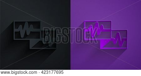 Paper Cut Computer Monitor With Cardiogram Icon Isolated On Black On Purple Background. Monitoring I
