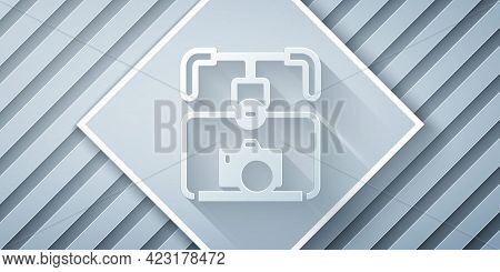 Paper Cut Gimbal Stabilizer With Dslr Camera Icon Isolated On Grey Background. Paper Art Style. Vect