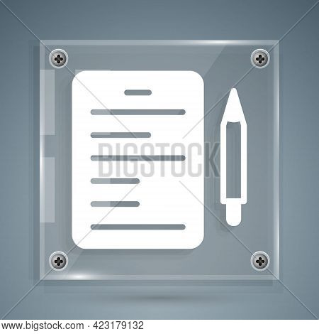 White Scenario Icon Isolated On Grey Background. Script Reading Concept For Art Project, Films, Thea