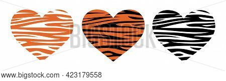 Heart Shaped Tiger Print. Vector Illustration. Valentines Day. Tiger Is The Symbol Of 2022.