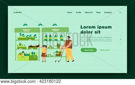 Happy Father And Daughter Buying Food In Supermarket Flat Vector Illustration. Cartoon Dad Wheeling