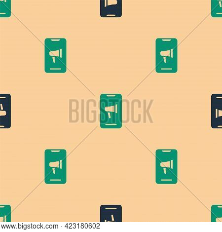 Green And Black Protest Icon Isolated Seamless Pattern On Beige Background. Meeting, Protester, Pick