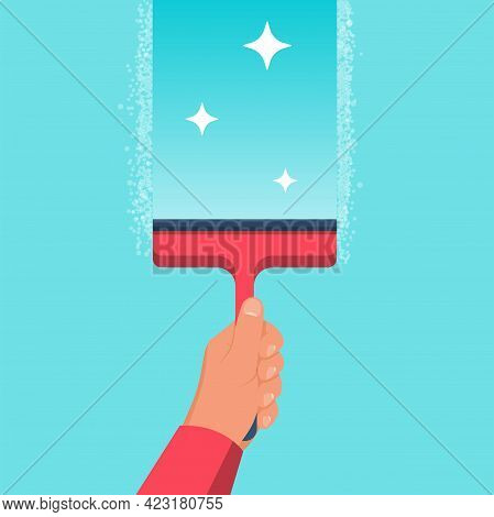 Man Washes A Window. Glass In Foam. Cleaning The Window. Cleaner In Hand. Vector Illustration Flat D