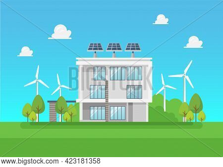 Eco Friendly Modern House. Green Energy Solar And Wind Power. Vector Illustration