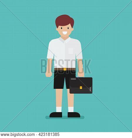 Cute Student Boy. Flat Style Design. Vector Illustration