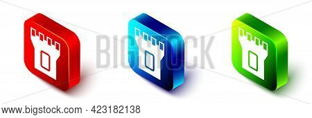 Isometric Castle Tower Icon Isolated On White Background. Fortress Sign. Red, Blue And Green Square