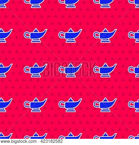 Blue Magic Lamp Or Aladdin Lamp Icon Isolated Seamless Pattern On Red Background. Spiritual Lamp For