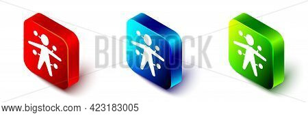 Isometric Voodoo Doll Icon Isolated On White Background. Red, Blue And Green Square Button. Vector
