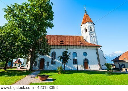 The Central Church Or Stadtkirche Is The Main Reformed Church Of Thun Town In Canton Bern Of Switzer