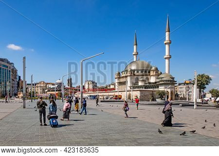 Taksim,istanbul,turkey-june 9,2021.summer View From Taksim Square With Its Green Public Parks, Wide