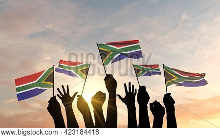 Silhouette Of Arms Raised Waving A South Africa Flag With Pride. 3d Rendering