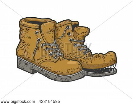 Old Shabby Ragged Torn Boots Color Line Art Sketch Engraving Vector Illustration. T-shirt Apparel Pr