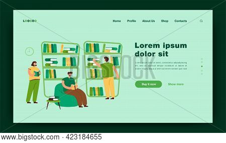 People Sitting At Bookshelves And Reading Books In Bookstore. Students Studying In Library. Vector I