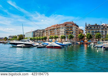 Geneva City Port Panoramic View. Geneva Or Geneve Is The Second Most Populous City In Switzerland, L