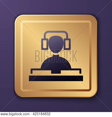 Purple Dj Wearing Headphones In Front Of Record Decks Icon Isolated On Purple Background. Dj Playing