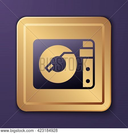 Purple Vinyl Player With A Vinyl Disk Icon Isolated On Purple Background. Gold Square Button. Vector