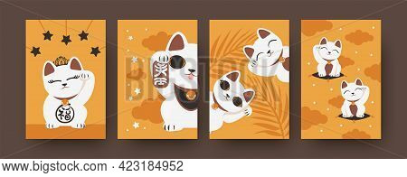Colorful Collection Of Art Posters With Japanese Cats. Bright Set Of Maneki Neko Isolated On Orange