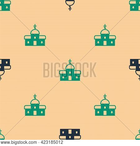 Green And Black Church Building Icon Isolated Seamless Pattern On Beige Background. Christian Church