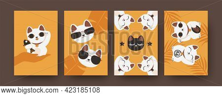 Collection Of Art Posters With Japanese Cats In Bright Colors. Colorful Set Of Maneki Neko Isolated