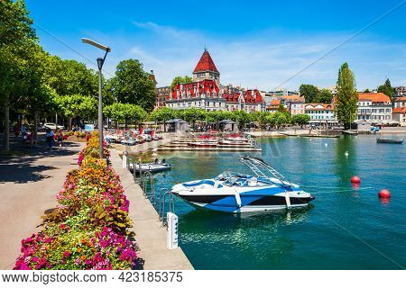 Geneva Lake Promenade Near The Chateau Ouchy Castle, An Old Medieval Castle In Lausanne City In Swit