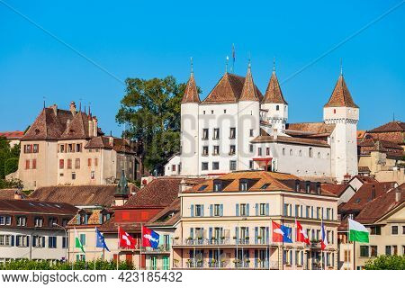 Medieval Castle In Nyon, It Is A Town On The Shores Of Lake Geneva In The Canton Of Vaud In Switzerl