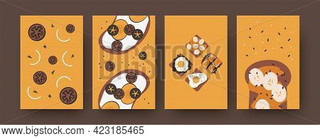 Bright Collection Of Sandwiches Illustrations. Colorful Set Of Different Toasts Isolated On Orange B