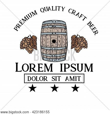 Brewery Beer Hand Drawn Design Logo Vector