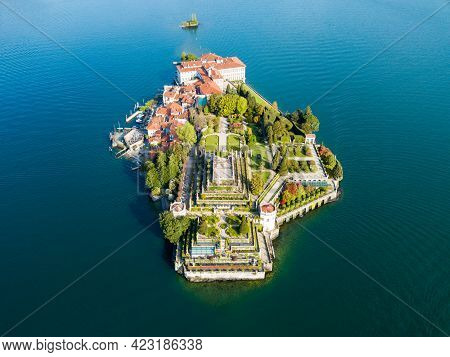 Isola Bella Aerial Panoramic View. Isola Bella Is One Of The Borromean Islands Of Lago Maggiore In N