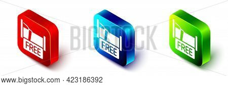 Isometric Free Overnight Stay House Icon Isolated On White Background. Red, Blue And Green Square Bu