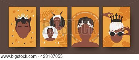 Colorful Collection Of Art Posters With Male Haircuts. Modern Collection Of Male Heads Isolated On O